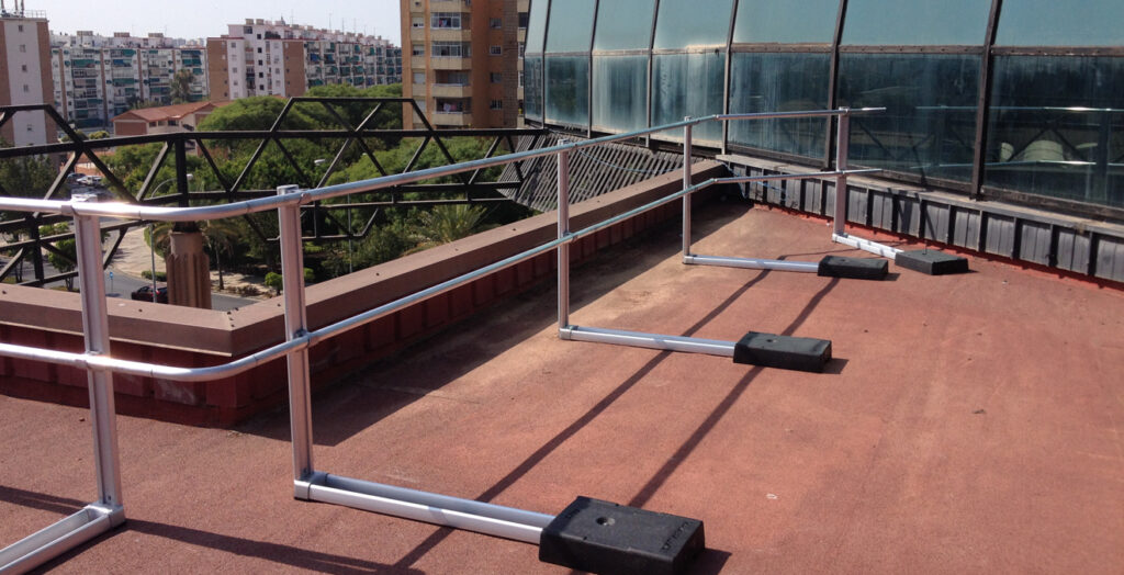 fall protection reference xsplatforms la rosaleda malaga espana spain xsfixed guardrails