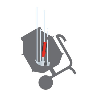 A falling hammer can impact like a concrete mixer