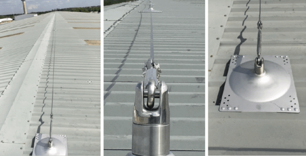 Horizontal lifeline system on trapezoidal roof