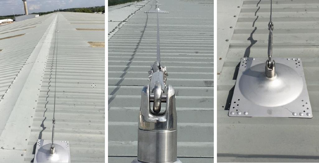 Horizontal lifeline system on trapezoidal roof