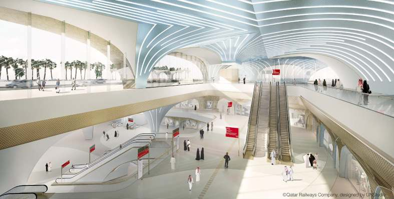 Render of the inside of a Doha Metro station - Picture by Qatar Railways