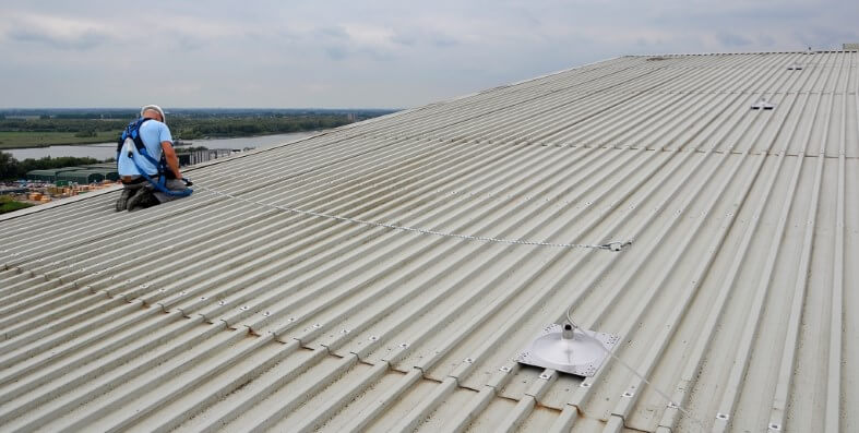 Fall protection on trapezoidal cold roof structure
