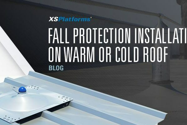 Fall protection installation on warm or cold roof structions