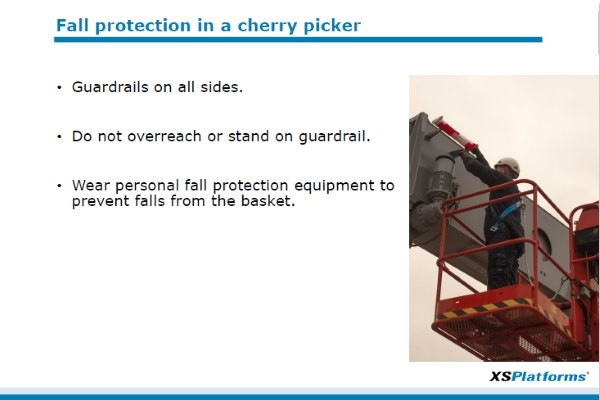 Toolbox: Fall protection in a cherry picker