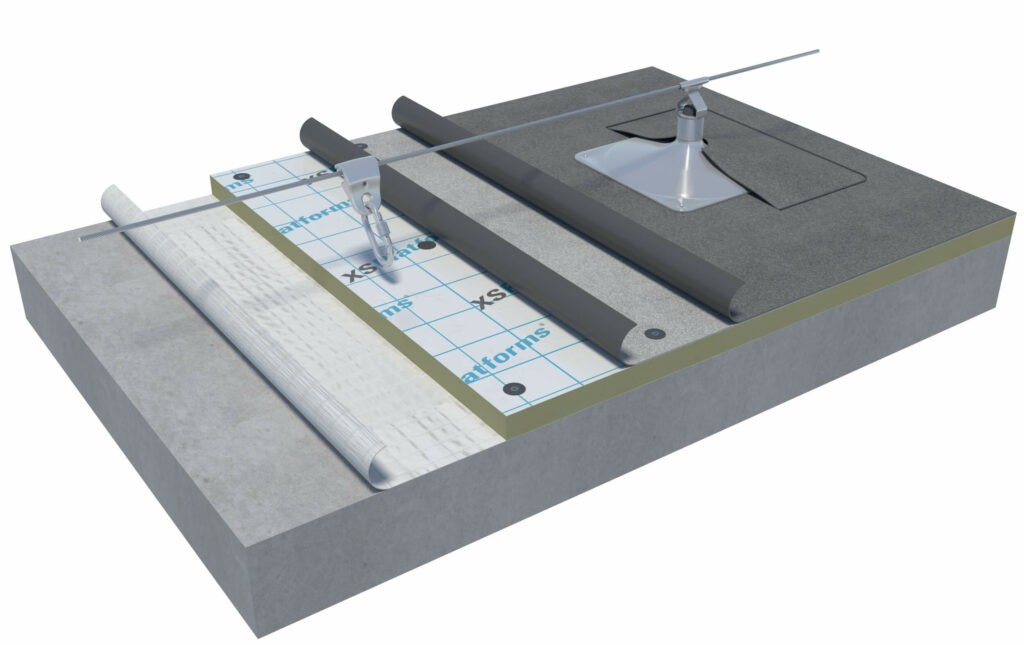 Lifeline system on connector on concrete roof structure