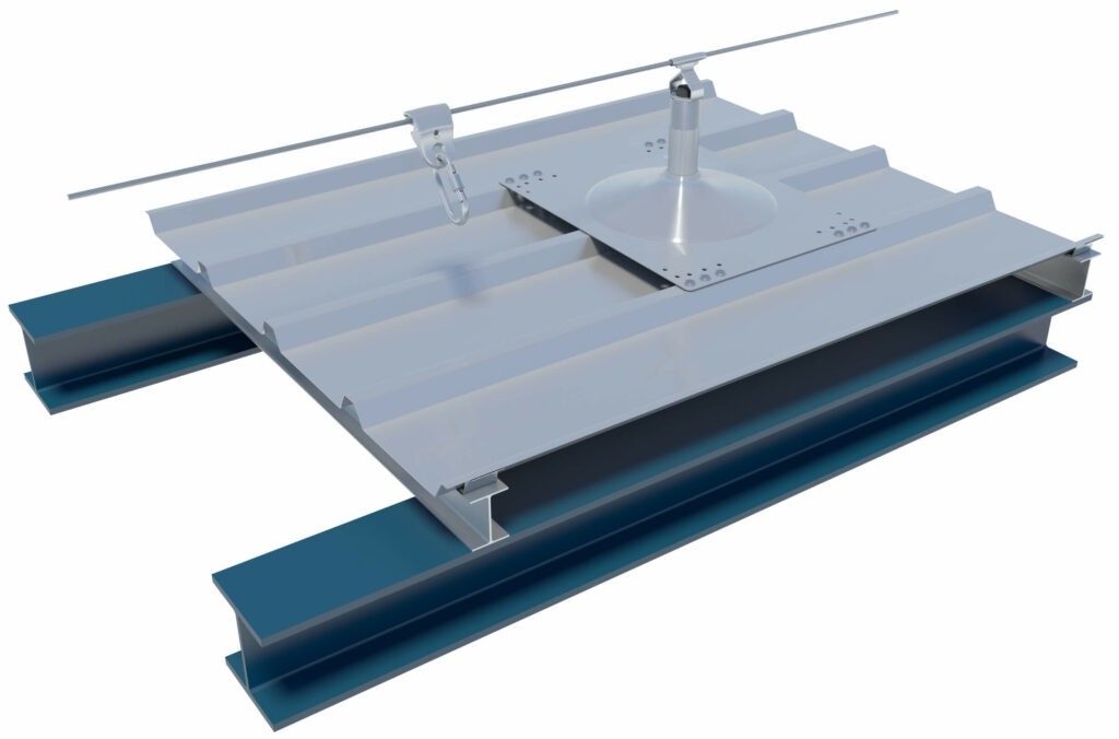 Horizontal lifeline on cold roof structure