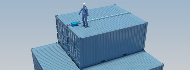 Example of temporary horizontal lifeline setup on sea containers